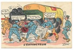 Scènes De L'Armée Motorisée - L'Extincteur... Signé G. PETIET - Humour