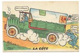 Scènes De L'Armée Motorisée - La Côte... Signé G. PETIET - Humour
