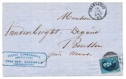 1863 BRIEF Met COB 15 Van CHARLEROI Naar BOUSSU, Zie Scan(s) - 1858-1862 Medallions (9/12)