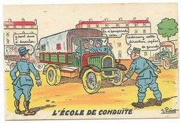 Scènes De L'Armée Motorisée - L'Ecole De Conduite... Signé G. PETIET - Humour