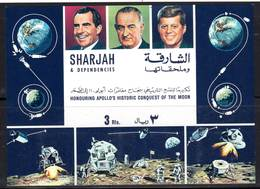 SHARJAH - BLOC ** (1969) ESPACE / APOLLO 11 - J.F Kennedy,Nixon,Johnson. - Space