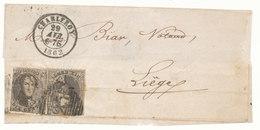 1862 BRIEFDEEL Met COB 10(*2) Van CHARLEROY Naar LIEGE, Zie Scan(s) - 1858-1862 Medallions (9/12)