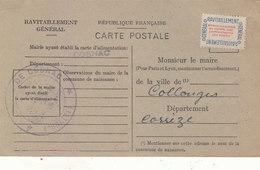 COSNAC: CARTE DE RAVITAILLEMENT GENERAL.AVEC TIMBRE.NON OBLI.1946.ETAT T.BON - Francia