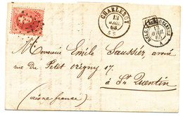 1865 BRIEF Met COB 16 Van CHARLEROY Naar St QUENTIN, Rug MIDI III Zie Scan(s) - 1858-1862 Médaillons (9/12)
