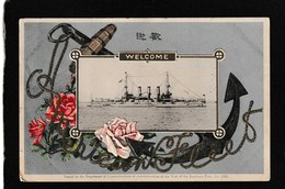 """Japan-""""Welcome,Visit Of The American Fleet"""" Oct,1908 - Antique Postcard - Giappone"""