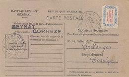 BEYNAT: CARTE DE RAVITAILLEMENT GENERAL.AVEC TIMBRE.NON OBLI.1946.ETAT T.BON - Francia