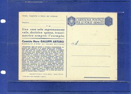 ##(DAN196)1942-Cartolina Postale In Franchigia Per Le FF AA-Medaglie D'Oro Galuppi Arturo-cat Filagrano F34/6 Nuova - 1900-44 Vittorio Emanuele III