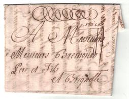 """1738 - LETTRE LAC De TURIN Avec MARQUE MANUSCRITE """" DE NICE """" (ALPES MARITIMES) Pour BRIGNOLES (VAR) LENAIN COMTÉ - 1701-1800: Précurseurs XVIII"""
