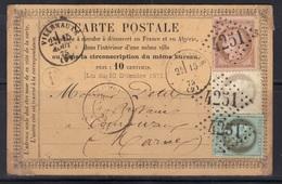 Villenauxe (Aube) : GC 4251, Càd Type16 Sur Cp Précurseur, Cérès N°50-52-58, 1875. - Marcophilie (Lettres)