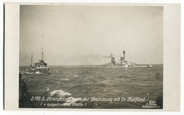 Warship Marine Kriegsschiff Foto-AK S.M.S. KRONPRINZ Nach Der Rammung Mit Gr. Kurfürst Mit Ausgebrochener Platte - Guerra