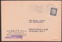 ZKD-Brief B3 BERLIN O17 VEB Kälte Schiffs- U. Industrie-Kälteanlagen 7.8.56 , Schließfach  159,  Germany DDR - Dienstpost