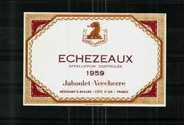 Etiquette Ancienne -  1959   ECHEZEAUX   Appellation  Contrôlée - Jaboulet-Vercherre à  BEAUNE - Rouges