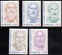 GREECE, 2019, MNH, ANCIENT  GREEK LITERATURE, DEFINITIVES, PART I, SOCRATES, HERODOTUS, EPICOURUS, EURIPIDES, 5v - History