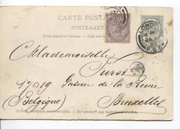 PR6549/ Entier CP Paquebot (La Flandre) Trous D'épingle 5c Armoiries+TP GB 1 Penny C.London 1903 V.BXL - Stamped Stationery