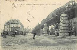 """- Paris - -ref-C863-  Bd De Grenelle Pris De La Rue De Lourmel - Restaurant """" à L Industrie """" - Viaduc Metro - - Arrondissement: 15"""