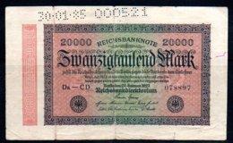 617-Allemagne Billet De 20000 Mark 1923 Da-CD Perforé 30-1-35 - 20000 Mark