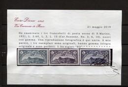 SAN MARINO 1931 POSTA AEREA SERIE CPL. 10  V. ** MNH CERT. DIENA - Posta Aerea