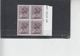 GRAN BRETAGNA  1976 - Unificato 785 (quartina) - Elisabetta - Nuovi