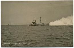 Warship Marine Kriegsschiff Foto-AK S.M.S.ZAHRINGEN Und Blitz Beim Einnebeln Auf See - Guerra