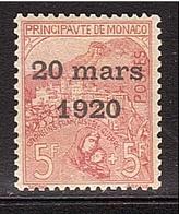MONACO 5frs Mariage Yvert 43 ** Retour Expertise Négative (€ 13.000,- ! ) - Unused Stamps