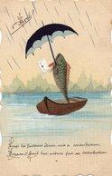 Fantaisie   1er Avril - Poisson  - Parapluie - Barque - 1° Aprile (pesce Di Aprile)