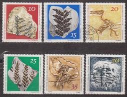 Fossiles - ALLEMAGNE DE L'EST - Conifères, Fougère, Ptérodactyle, Oiseau, Ecrevisse - N° 1519 à 1524 - 1973 - [6] République Démocratique