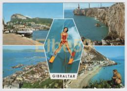 Gibraltar, Multivuew Card, Landscape, Water Ski, Monkey, Used - Gibilterra
