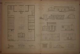 Plan De La Ferme De Villers Allerand Dans La Marne. Alphonse Gosset, Architecte. 1884. - Planches & Plans Techniques