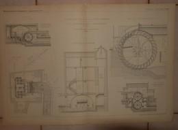 Plan De Distribution D'eau Des Villes De Sète Et De Béziers. Roues Hydrauliques En Dessus à Mouvement Direct. 1884. - Public Works