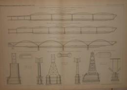 Plan De La Construction D'un Pont Sur Le Danube à Czernavoda. Projet De La Société De Construction De Batignolles. 1884. - Obras Públicas