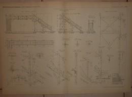 Plan D'une Passerelle En Charpente. Chemins De Fer Du Nord. 1884. - Travaux Publics