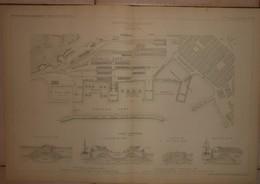 Plan Du Nouveau Port De Trieste En Autriche. 1884. - Travaux Publics