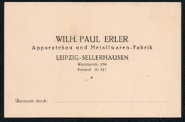 A3059 - Visitenkarte - Wilhelm Paul Erler Leipzig Sellerhausen - Metallwaren Fabrik - Visitenkarten