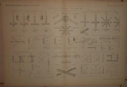 Plan D'une étude Sur Les Assemblages. Petits Fers T L I. 1884. - Technical Plans