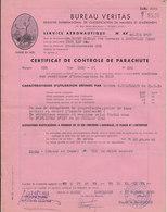 Bureau Véritas ,certificat De Controle De Parachute,1953 - France