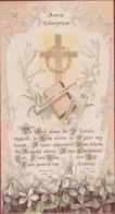 Santini Canivet Image Pieuse Holy Card Communion Amo Christum Poverty Chastity Obedience Cross JUGENDSTIL - Images Religieuses