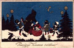 Santa Claus In Black Robe With Gifts-Vintage-Latvian-Lettland-1931-postcard - Santa Claus