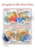 CENTRAL AFRICA 2019 - Notre-Dame De Paris, Merkel, Macron, Trump. Official Issue - Famous People