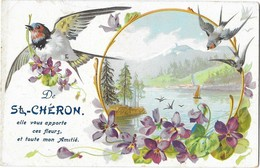SAINT CHERON (91) Carte Fantaisie Souvenir Hirondelle - Saint Cheron