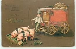 N°12626 - Carte Gaufrée - Vous Qui Devinez Si ... Vient 1 Er Avril - Carosse Tiré Par Des Cochons - 1er Avril - Poisson D'avril