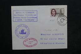 FRANCE - Gaston Plante Sur Enveloppe De Granville En 1957 , Service Du Courrier Par Vedettes , Cachet D 'hôtel - L 30475 - Postmark Collection (Covers)