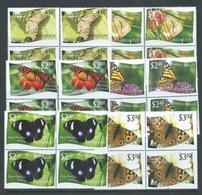 Tonga Niuafo'ou 2012 Butterfly Set Of 12 MNH Blocks Of 4 , 4 Values With Double Perforation Variety - Tonga (1970-...)
