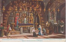 CPA Jérusalem - Illustrateur Perlberg - Eglise Du Calvaire (intérieur) - Israele