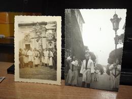 CARTOLINA  DUE FOTOGRAFIA CROCEFISSO PROCESSIONE RELIGIONE - Fotografia