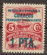 Asturias Y Leon 11 ** Barco. Habilitado 1 Pta. 1937 - Asturias & Leon