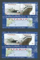 Tonga 2012 Titanic Ship Anniversary Sheet Of 2  X 2 Imperforate & Perforate MNH - Tonga (1970-...)