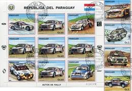 AUTOS DE RALLY. PARAGUAY YVERT 2309 / 2313 YEAR 1987 SERIE COMPLETA CON HOJA BLOCK OBLITERES - LILHU - Paraguay