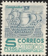 J) 1954 MEXICO, CAMPECHE BOAT, TYPE II IMPRINT, HIGH AND CLEAR, MNH - Mexico