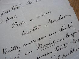 Hector MALOT (1830-1907) Romancier. - AUTOGRAPHE - [ Rémi SANS FAMILLE ] - Autografi