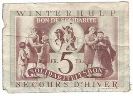Loterie Secours D'hiver Sollidarite/ Loterij  Winterhulp Solidartiet 5fr. - Billets De Loterie